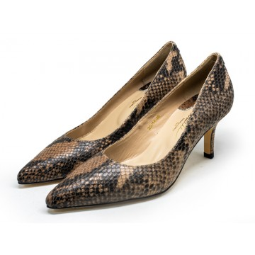 2501A Caratti Classic Leather Heels (Mid, Textured Leather)