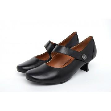 8113 Caratti Leather Heeled Mary Janes