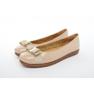8841-199 Barani Patent Leather Pumps/Ballet Flats (with Fixed Buckle)