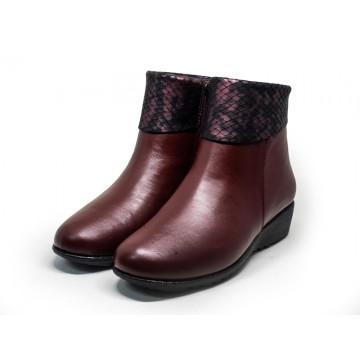 8931-20 Barani Leather Ankle Boots/Booties (Side Zipper, Textured Leather Cuffs)