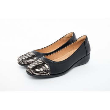 8948-128 Barani Leather Pumps (with Micro Wedge, Contrast Toe Cap)